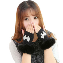 New Fashion Lady's Half Covered Mittens Warmer Finger Winter Knitted Fingerless Diamond Gloves Women Wrist Gloves Hot Sales(China)
