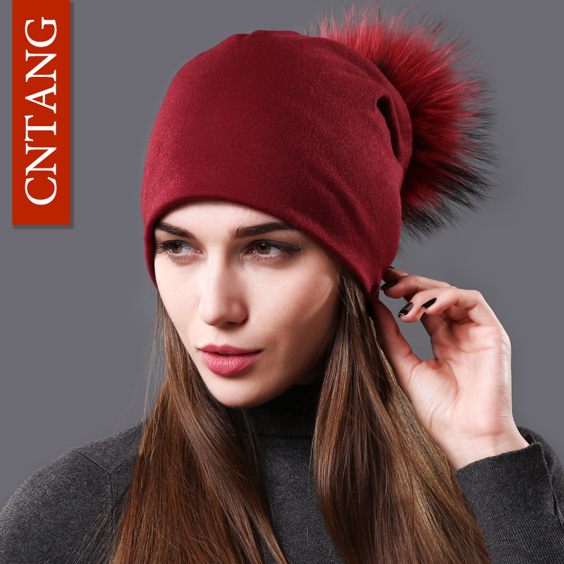 CNTANG Female Natural Raccoon Fur Pompom Hats Beanies Autumn Winter Warm Solid Caps For Women Fashion Cotton Skullies Thin Hat