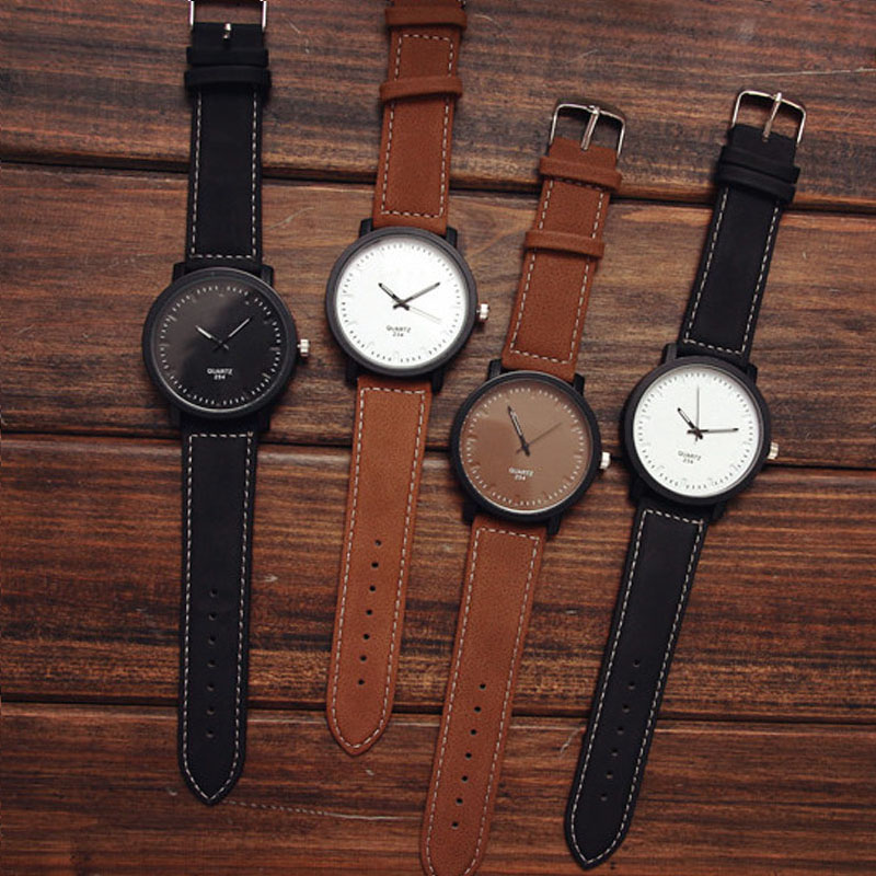 High NEW Watch Fashion Round Steel Case Men women Leather Quartz analog wrist Watch Dropshipping A29