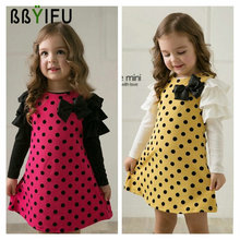 BBYIFU 2017 New spring Autumn Dot Pattern Printed Girls Dresses Children Clothes Girls Kids Princess Long Sleeves Clothes Baby(China)
