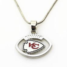 10pcs Kansas City Chiefs Football Team Football sports necklace Jewelry with snake chain(45+5cm) necklace Charms Pendant(China)