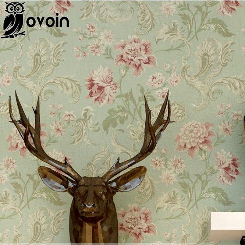 American Vintage printing flower backgrounds wall paper modern floral paper wallpaper bedroom wallcovering Green/Beige<br><br>Aliexpress