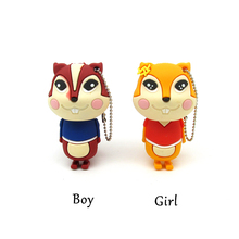 New cartoon squirrel usb flash drive disk memory stick Pen drive personalizado 4gb 8gb 16gb 32gb pendrive Large tail Animal gift
