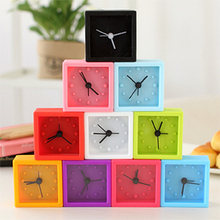 051452 simple candy colored square silicone mini portable lazy small alarm clock creative gifts(China)