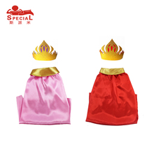 L27* Girls red cape&crown for birthday party gifts Christmas Carnival cloak for cospaly princess& prince costume fancy dress