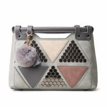 2016 Hot Sale Leather Women Handbags Brand Office Lady Fur Ball Tote Bags Top-Handle Bag Triangle Patchwork Rivet Shoulder Bags