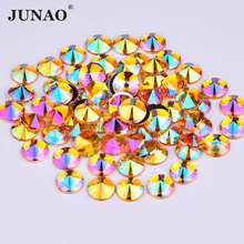JUNAO 10mm Yellow AB Crystals Flatback Acrylic Rhinestones Glue On Round Strass Crystal Stones Rivoli Beads for Jewelry Clothes(China)