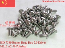 Stainless Steel screws M3x6  Button Head  ISO 7380 Hex Driver A2-70 Polished ROHS