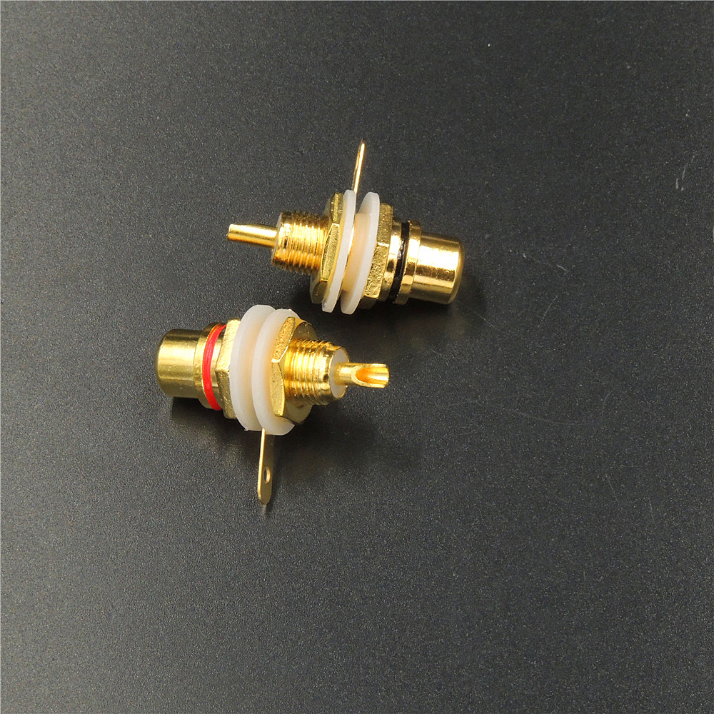 Quantity is One Red Chassis Mount Gold Plated Female RCA Jack Solder Type
