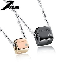 Romantic His and Her Promise Necklace Fashion Stainless Steel Cube Pendant Women Men Couple Jewelry Valentine's day Gift,JM1064X(China)