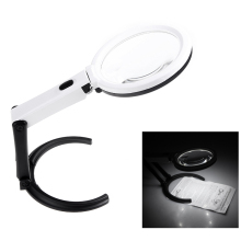 Portable 10 LED Light Magnifier Magnifying Glass with Light Lens Table Desk-type Lamp Handheld Foldable Loupe 2 x 120mm 5x 28mm(China)