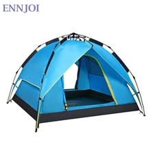 ENNJOI 3-4Person Oxford Cloth Double Layer Camping Tent Portable Automatic Beach Tent Fully Automatic Pop Up Beach Tent