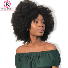 Afro Kinky Curly Lace Front Wig With Baby Hair Brazilian Virgin Short Human Hair Wigs Pre Plucked Full Natural Wig Rosa Queen(China)