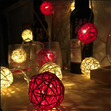 4m 20 Red/White Rattan Ball Led string light Xmas 220V 110V garden holiday pendant Garland Wedding decoration fairy lights party(China)