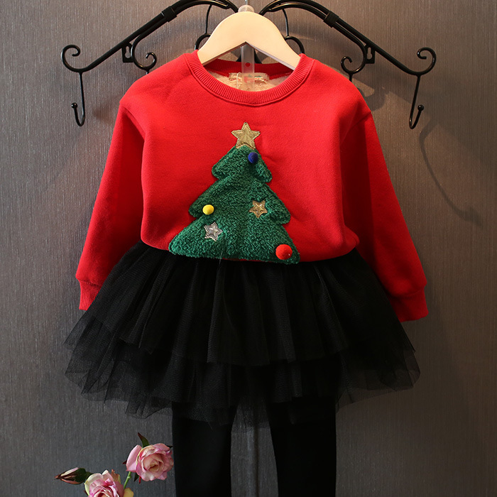 Girls Clothes 2017 Autumn Winter Baby Girls Christmas Tree Thickened Velvet Sweatshirt +Mesh Skirt Pant 2PCS Princess Suits<br>