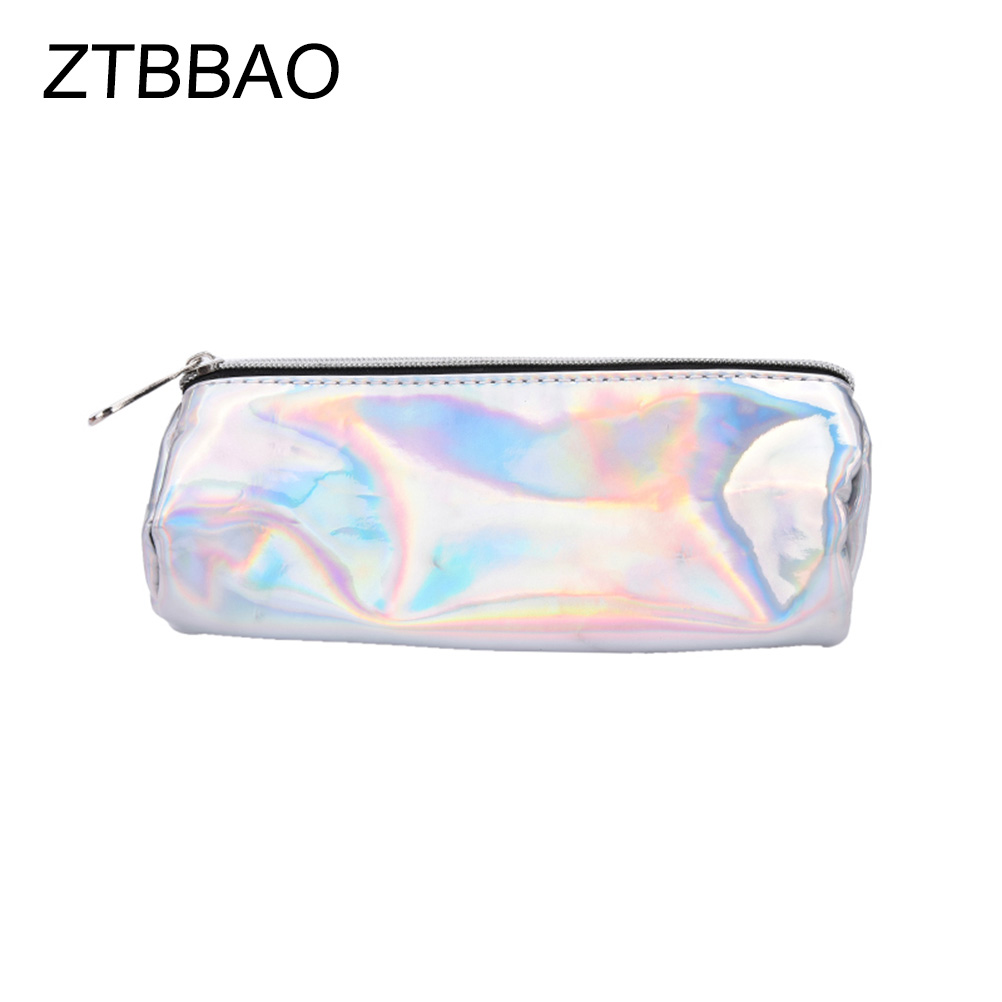 ZTBBAO 1PC PU Cosmetic Bags New Portable Small Solid Candy Colors PU Cosmetic Pouch Shiny Stationery Gift Pencil Case