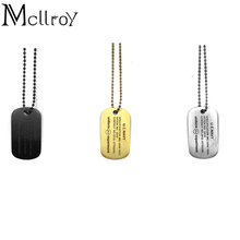 Mcllroy DOG TAG Necklace and men Ball Chain Hiphop Golden Dog Tag Necklace 83 Engraved Men's Military Titanium Steel Necklaces(China)