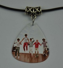 5Pcs One Direction 1D Medium 0.71mm Guitar Pick Necklace , Tibetan Silver Pendant Leather Cord O-6