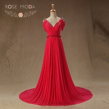 Rose Moda Sexy V Neck Hot Pink Evening Dresses with Train Off Shoulder V Back Formal Party Dress Red Carpet Dresses(China)