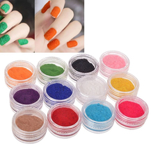 2016 Top Quality 12 Colors Glitter Gel Acrylic Velvet Powder Nail Art Salon Tips Polish Fingernails DIY Decorations(China)