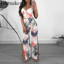 Buy Glamaker Boho palm halter v neck chiffon jumpsuits&rompers women Sash split backless sexy jumpsuit Party autumn beach playsuit
