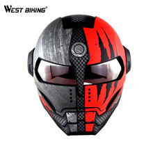 WEST BIKING Personalized Bicycle Full Face Helmet Motocross Motorcycle Helmet Vintage Riding Detachable casque Cycling Helmet(China)