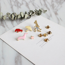 10pcs/lot Korean fashion Fox umbrella peach brooch wholesale cute metal badge cap needle jewelry A-1598