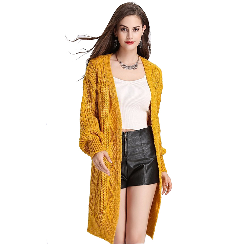 H.SA 17 Women Long Cardigans Autumn Winter Open Stitch Poncho Knitting Sweater Cardigans V neck Oversized Cardigan Jacket Coat 5