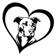 15.2*15.2CM PITBULL HEART Animal Car Stickers Decals Creative Fashion Car Styling Decoration Accessories C6-1372(China)