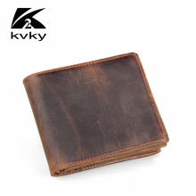 KVKY Fashion Genuine Leather Men's Wallets Small Casual Crazy Horse Men Coin Purse Vintage High Quality Card Holder Short Wallet(China)