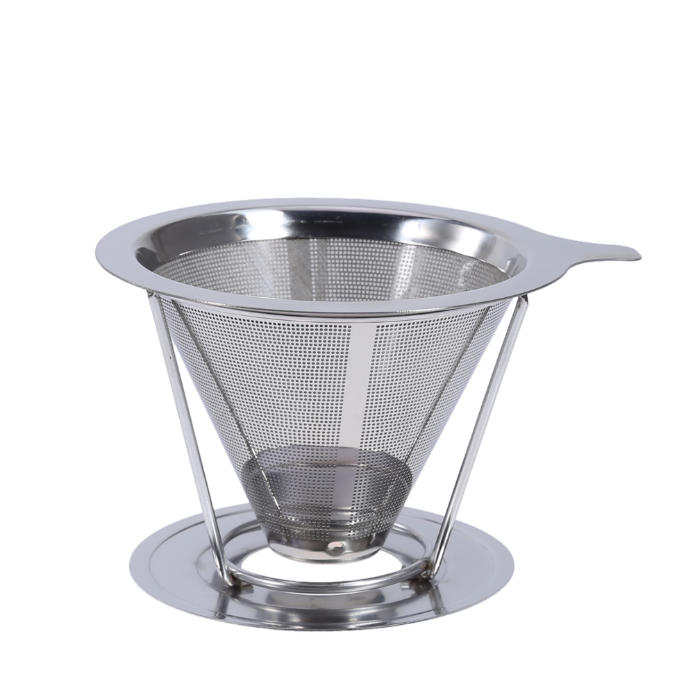 Reusable Stainless Steel Tea Coffee Filter Baskets Metal Mesh Cone Funnel Brew Drip Coffee Filter(China (Mainland))