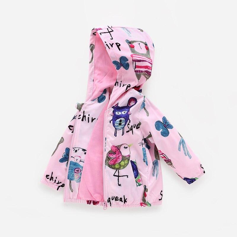 2018 new Spring Jacket Girls Kids Outerwear cartoon pattern Cute Windbreaker Coats Fashion Print Canvas Baby Children Clothing<br>