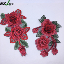 2pcs/set Polyester Yarn Clothing Embroidery Patch Fabric Sticker Iron Sew On Patch Craft Sewing Repair Embroidered LQW2509(China)