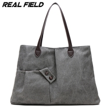 Real Field Women's Handbag Fashion Design Canvas Women Bag Ladies Casual Tote Bag Solid Shoulder Bag Travel Bag Bolsos Mujer 275(China)