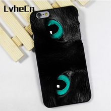 LvheCn phone case cover fit for iPhone 4 4s 5 5s 5c SE 6 6s 7 8 plus X ipod touch 4 5 6 BLACK CAT SEA GREEN EYES(China)