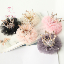 Shapu Children's crown princess flower bud silk fashion hair clips for girls baby hair accessories kids headwear hairpin