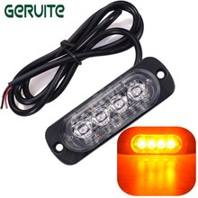 Hot Sale 12V -24V 4 Led Strobe Warning Light Strobe Grille Flashing Lightbar Truck Car Beacon Lamp Amber Traffic light Wholesale(China)