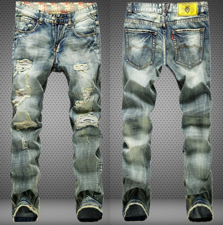 2017 Mens Retro Jeans Worn Denim Trousers Fashion Men Straight Jeans Pants Stitching Multi Hole Wash Ripped Light Blue JeansОдежда и ак�е��уары<br><br><br>Aliexpress
