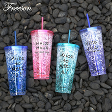 650ml Creative Summer Plastic Water Bottle with Straw Bistratal Crushed Ice Colorful Bottle Bike Sport Drinkware Girl Student