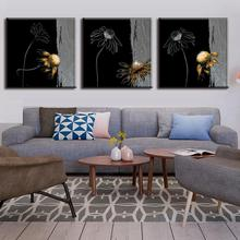 3 Pcs/set Oil Art Paintings Abstract Chrysanthemum In Black Painting Home Decorative Flower Printed Paintings Canvas Wall Art