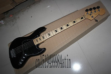Free Shipping Factory Custom Shop Best Price jazz Black 5 String Bass Guitar with 9v Active pickups In Stock @32(China)
