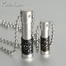 Keisha Lena Hollow-out Perfume Bottle Couple  Titanium Steel pendant Necklace women's necklaces punk fashion waves shaped