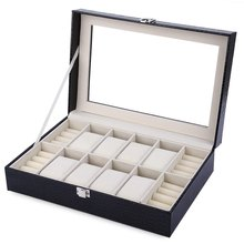 Black Fashion 8 Grids with 4 Mixed Grids Watch Box PU Leather Watch Case Jewelry Storage Display Box caixa para relogio