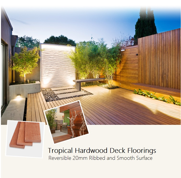 Tropical Hardwood Deck Flooring 20*90mm with Ribbed and Smooth Surface(China)