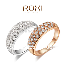 OBABY Jewelry Round clear crystal 18K Gold /platinum plated ring fashion jewelry Made with Genuine Austrian Crystals Full Size