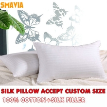 SMAVIA Soft Silk Pillow 100% Cotton Cover Silk Filler Bed Neck Pillow Zero Pressure Square Rectangle Sleep Pillow Accept Custom(China)