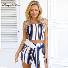 Buy BRIGHT GIEL Women Clothes Set Summer Sexy Crop Top 2PCS Striped Women's Clothing Sleeveless Tank Tops + Hot Shorts Ribbons for $15.79 in AliExpress store