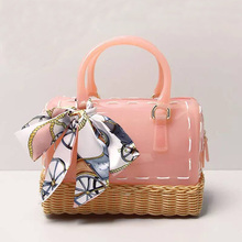Liyongyi Glitter ! Kid Girls 18cm PVC Jelly handbag Children Pillow Shoulder Bag Candy Color Silicon Tote Beach Messenger Bag