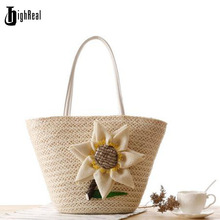 2017 Summer Fresh Style Beach Bags Women Weave Straw Flower Shoulder Bag Famous Brand High Quality Traveling Shopping Bags J151(China)