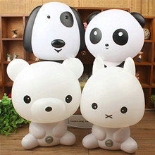NEW EU Plug Baby Bedroom Lamps Panda/Rabbit/Dog/Bear Cartoon Night Light PVC Plastic Sleeping Lamp Bulb Nightlight for Children(China)